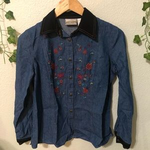 Vintage Embroidered Button Down Top